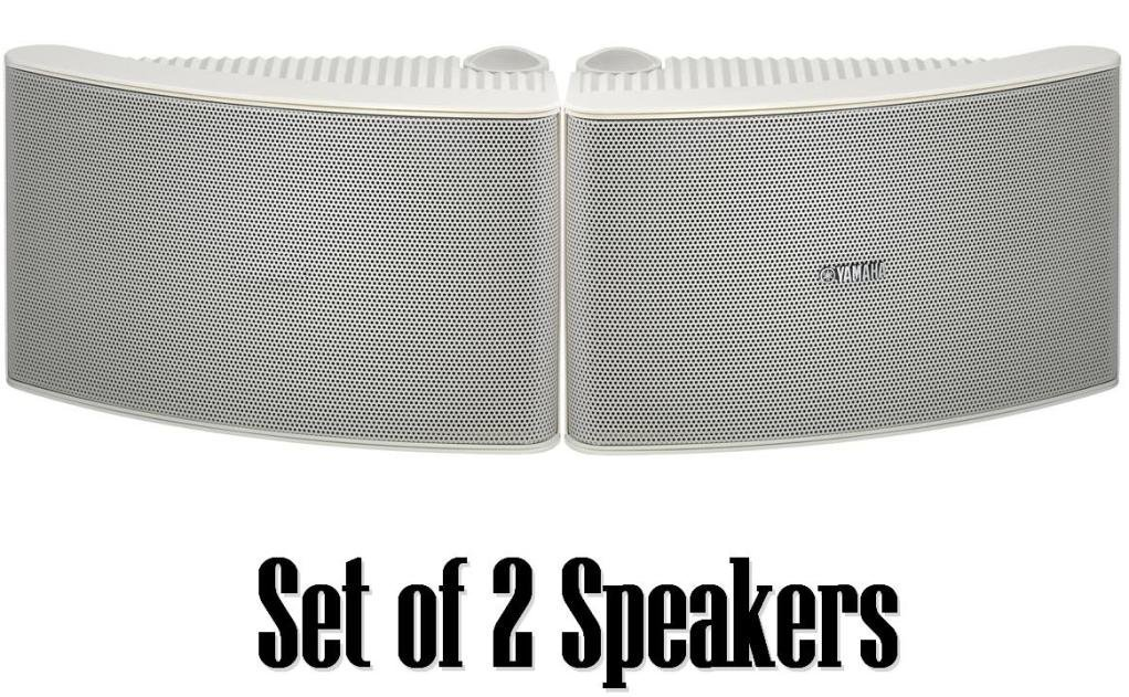 Yamaha All Weather Outdoor / Indoor Wall Mountable Natural Sound 180 watt 2 way Acoustic Suspension Speakers - Set of 2 - White - Compatible with All Audio / Video Home Theater Sound Systems, Components, CD Players, or Receivers - Also Designed for Book Shelf or Desktop Use