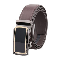 OEM High Quality Genuine Leather Automatic Belt Cow Leather Auto Lock Buckle Belt
