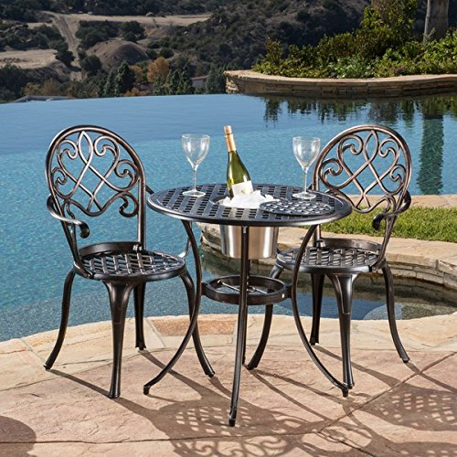 Stunning Antique Style Intimate Table Set Aluminum And Sturdy Metals Old Fashioned Copper Color Outdoor 3 Piece Bistro Furniture Set with Ice Bucket