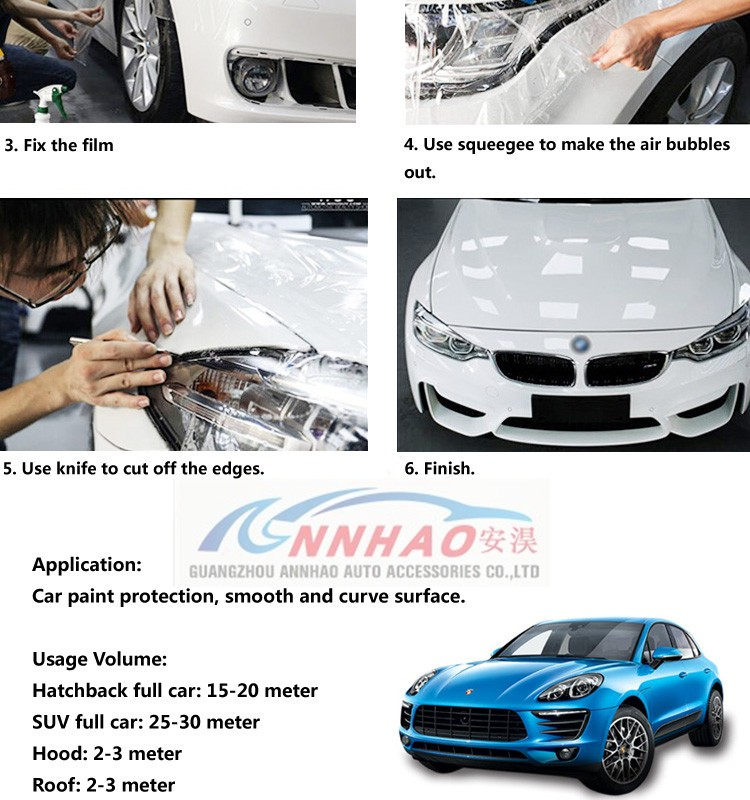ANNHAO Auto Repair Transparent Car TPU Protective Vinyl Film Clear TPU Film