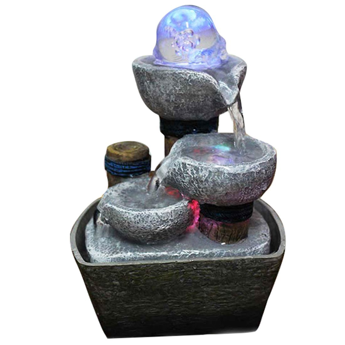 Indoor Tabletop Fountain Water Feature with LED Lights and Magic Crystal Ball Home Decor Garden Feng Shui Ornaments Ideal Gift (B 140x100x210mm)