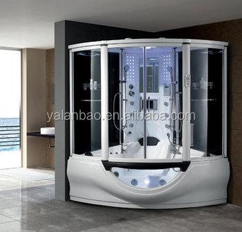 White Acrylic 2 Person Shower Steam Cabin Combo With Spa Bathtub W/MP3/TV