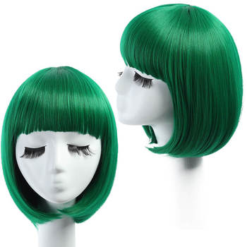 Latest Women Short Bob Hair Wigs Green Straight Part Wig Synthetic Colorful Cosplay