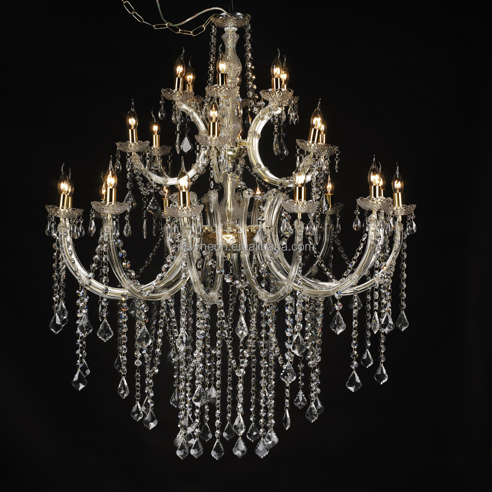 Modern Banquet Hall Lighting Big Crystal Drop Chandelier Lights NS-120230