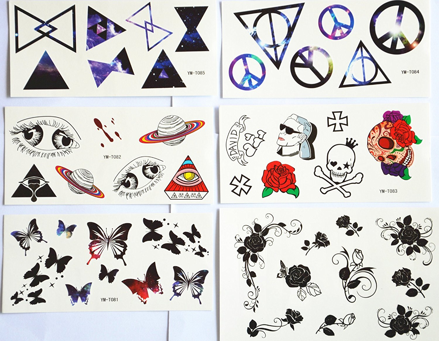 5b9171fff Get Quotations · GRASHINE Waterproof and non toxic hot selling temporary  tattoo stickers combination 6pcs/package different designs