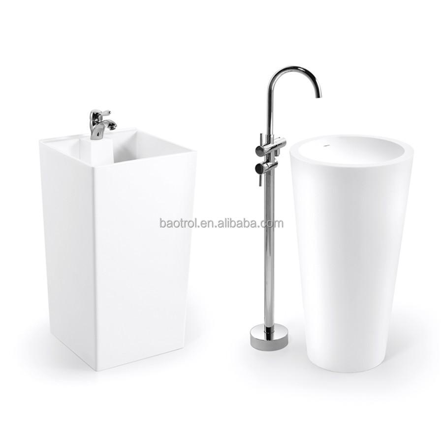 With Back Splash Acrylic Bathroom Basin Molded Bathroom