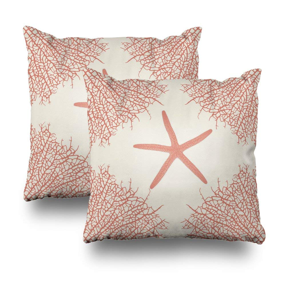 """Soopat Decorative Pillow Cover Pack of 2, 16""""X16"""" Two Sides Printed Decorative Seastar Coral Throw Pillow Cases Decorative Home Decor Indoor Nice Gift Kitchen Garden Sofa Bed Car"""