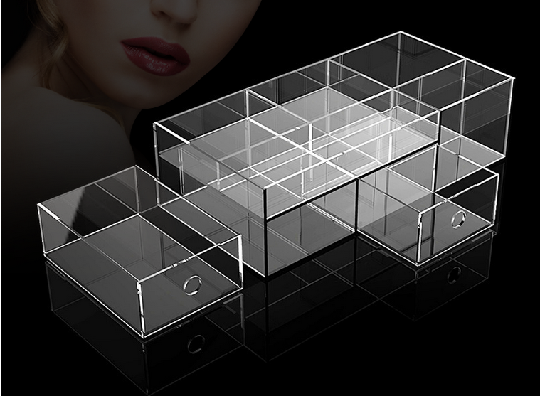 Custom retail store counter top 9 sections acrylic display shelf/acrylic display holder/cosmetic stand