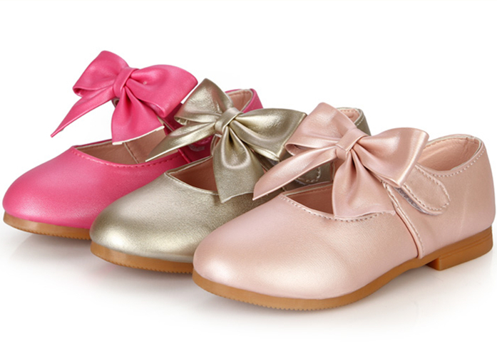 New Arrival 2015 Spring/Autumn Girls Bow Velcro PU Leather Shoes Princess Gold Pink Rose Red Shallow Shoes Kid Flat Dance Shoes