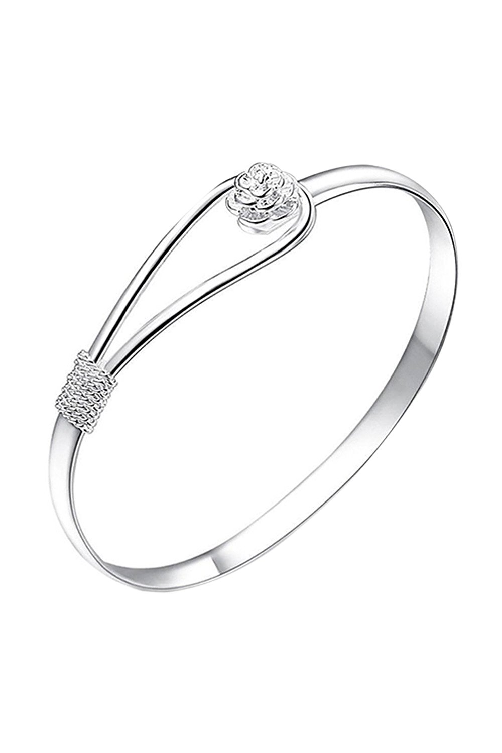 SODIAL(R) Fashion Jewelry Silver Plated Simple Circle Flower Rose Cuff Bangle Bracelet