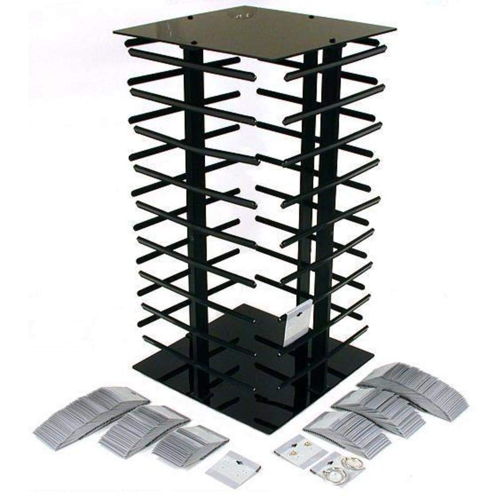 200 Gray Hanging Earring Cards Revolving Rotating Display Stand