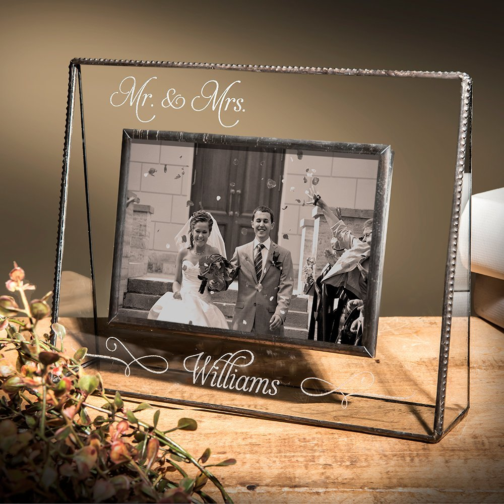J Devlin Pic 319-46HVEP503 Personalized Mr and Mrs Wedding or Anniversary 4x6 Glass Picture Frame Horizontal Landscape Photo Frame