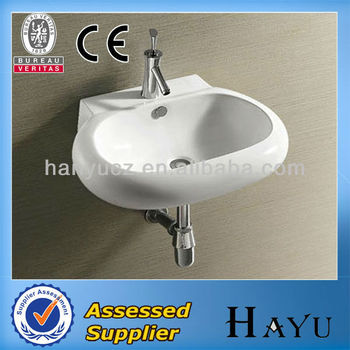 Hy-471 Wall Hung White Ceramic Bowl Shape Art Basin