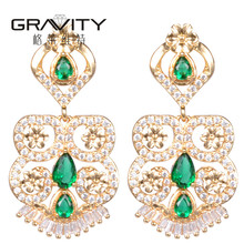 Ethnic jewelry fashion Thailand women cheap 22K gold plated drop stud earring