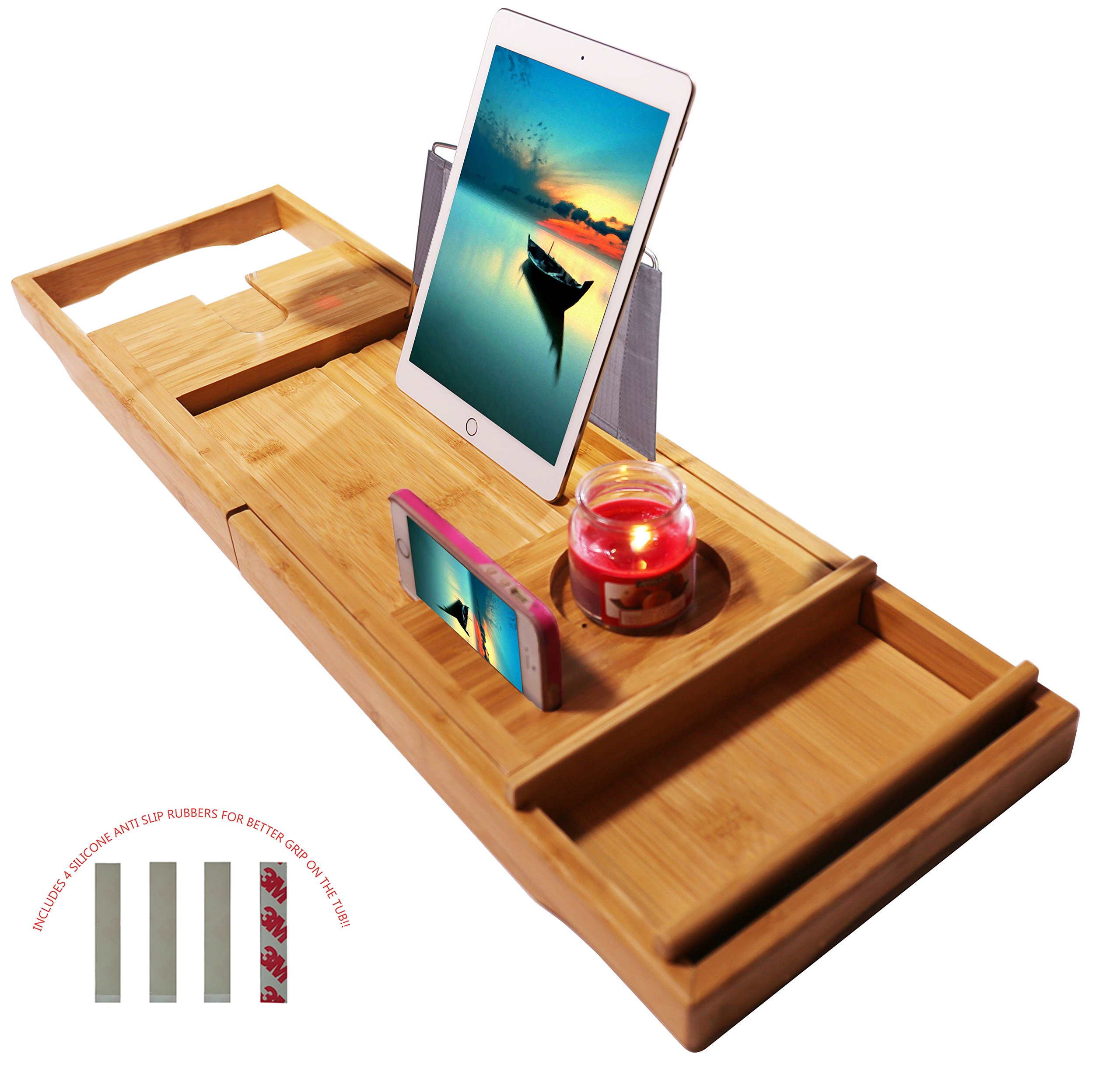 luxury full with bamboo for teak reviews glass bathtub reading caddy tub and tray rack wine bath holder