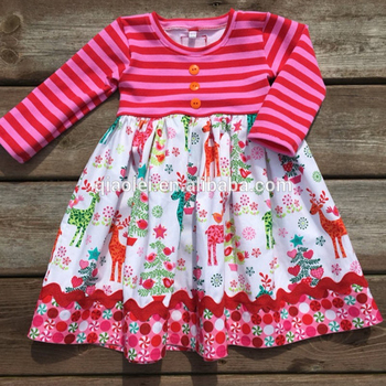 164001967 Latest fashion cute Christmas surprise nutcracker baby girl cotton dress