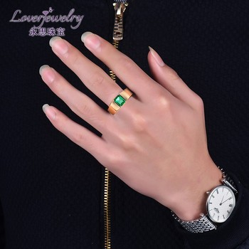 0efd360f0a19 Loverjewelry Real Colombia Esmeralda Natural piedras preciosas 18 K anillos  de oro para los hombres