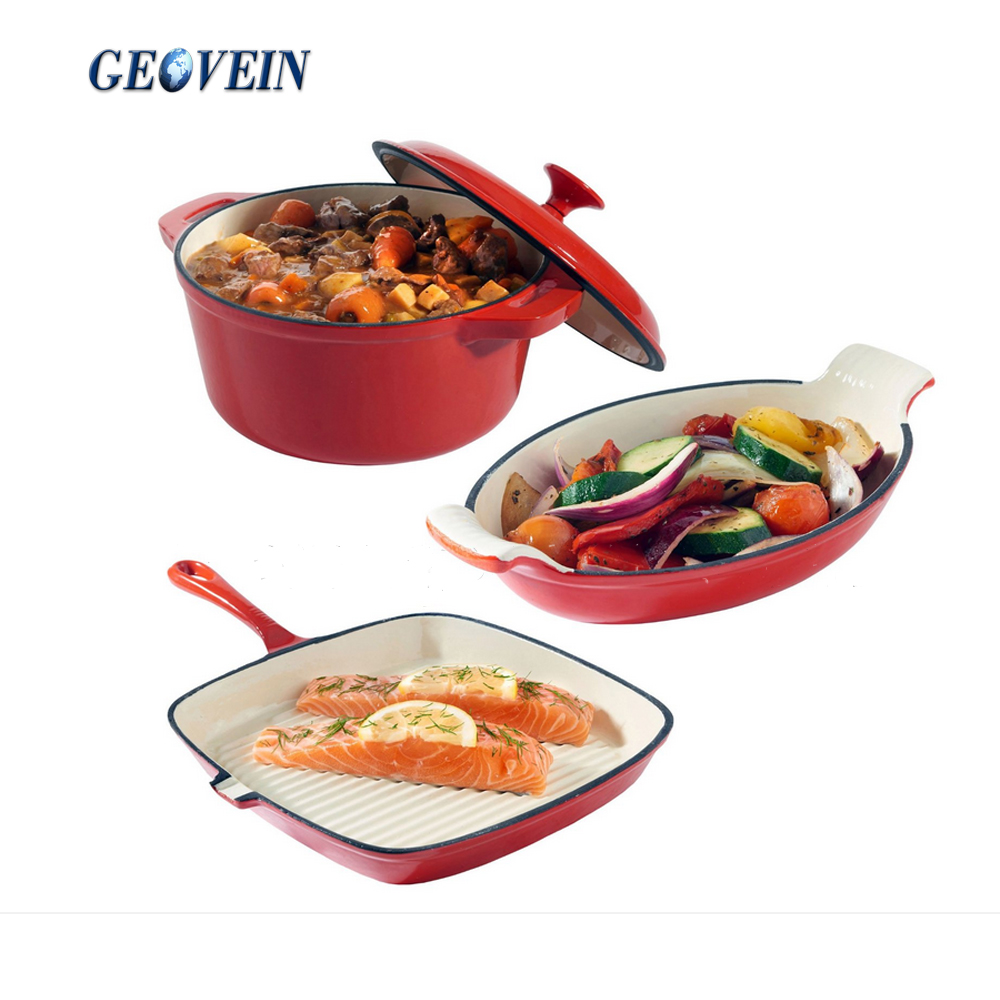 Palm Restaurant Enamel Cookware 3 Piece Cook Set