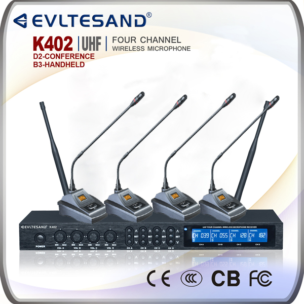 K402 four channel wireless desktop conference gooseneck microphone