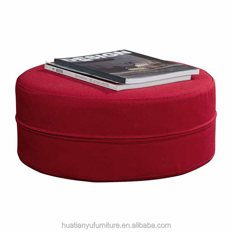 Wholesale indian home goods removable red fabric round pouf ottoman for sale