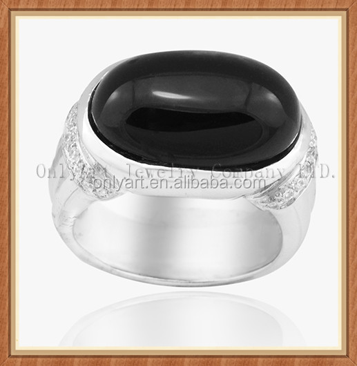 Big gemstone jewelry value 925 Silver ring black agate ring