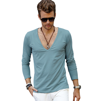 a30360e1012 Men Deep V Neck T Shirt Blank Scoop Neck T Shirts