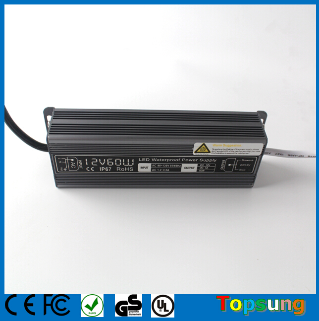 Waterproof IP67 led transformer 12v 60w switching power <strong>supplies</strong> for led neon