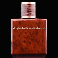 2015 New Design Amber Coated Classic 50Ml Square Perfume Glass Bottle Wholesale