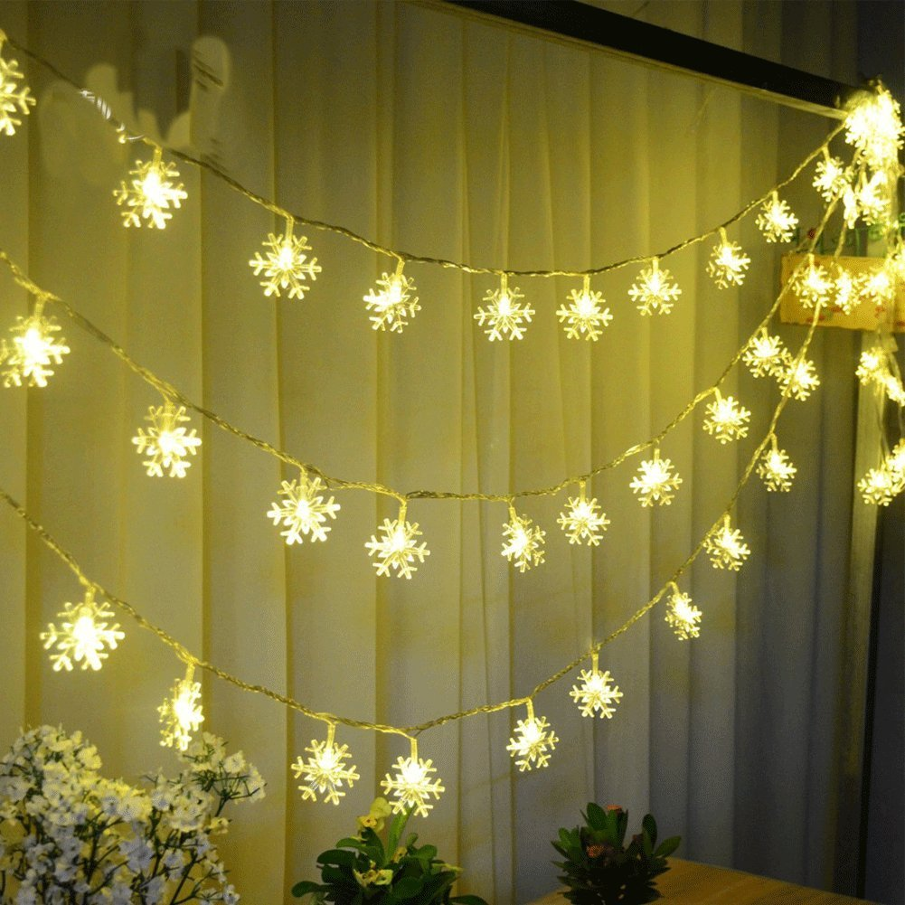 get quotations biowow christmas lights outdoor battery operated 25m snowflake led string lights christmas decorations warm white