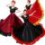 Spain Dance Costumes Flamenco Skirt Ballroom Women Satin Dress Gypsy Red Stage Wear Performance Stage Show Costume