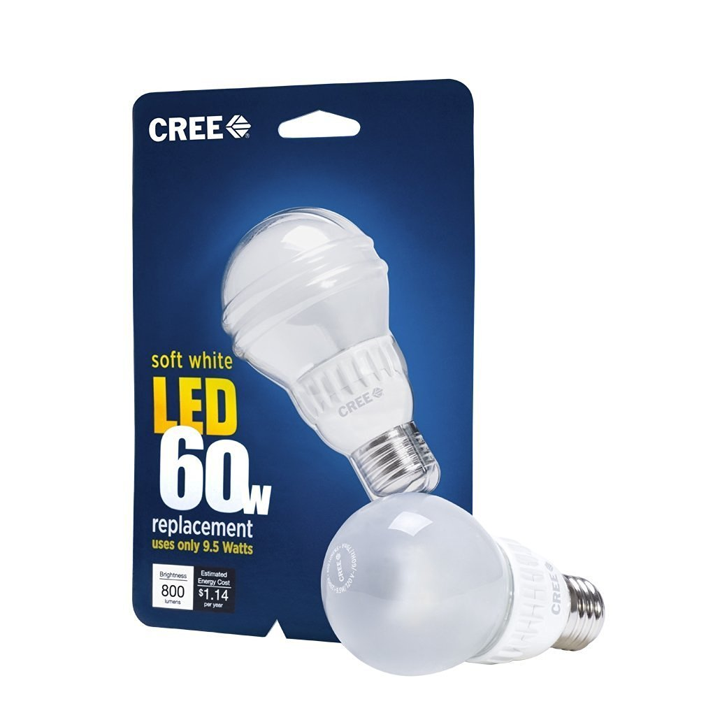 Cree 9.5 Watt LED Soft White Light Bulb 800 Lumens (60W equivalent) - Pack of 3
