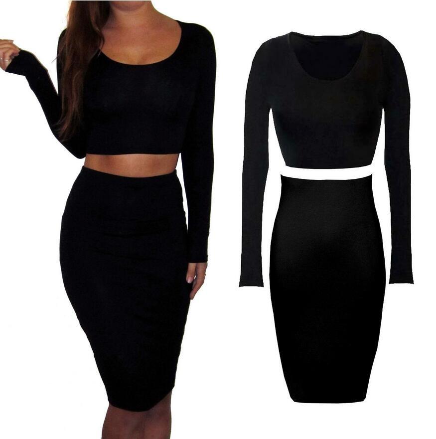e7dbbad7f4 2016 en stock de fotos de faldas largas y top Sexy 2 unidades Conjunto  Jersey damas