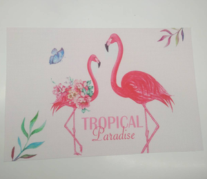 Wholesale table placemat factory of Textilene 70%PVC+30%polyester color printing flamingo placemat PVC placemat