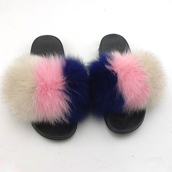 Fluffy Wholesale Fur Slippers Real Fox Raccoon Fur Slides Slippers