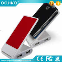 2 in 1 mini USB 2.0 HUB with Mobile Phone Holder