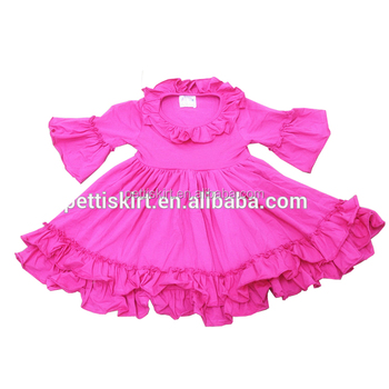 Western Baby Girls Ruffle Clothes Boutique Cotton Dress Soild Color Ruffle  Children Party Dresses be00353986bd