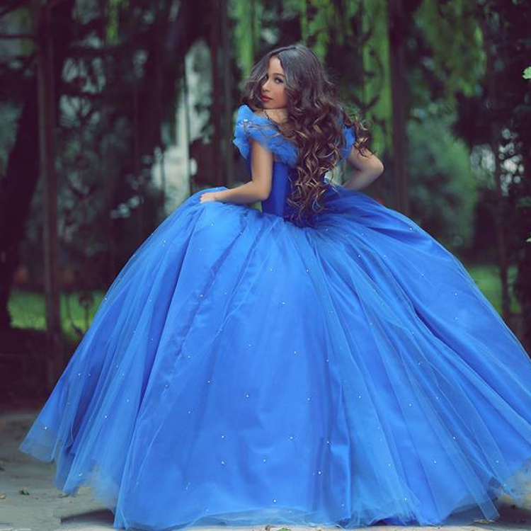 f8f5c71f75e Cinderella Blue Long Prom Dress Ball Gown Off Shoulder Beaded Butterfly  Organza Evening Party Gowns Quinceanera Dresses