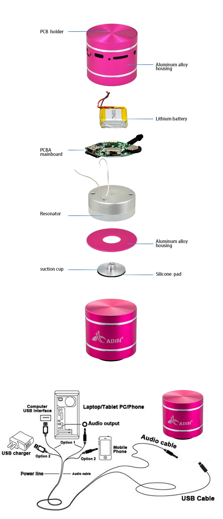 Tf Card Cube Bass Peaker Portable Vibration Speaker With Suction ...