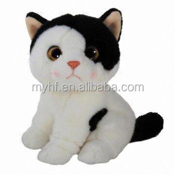Best Gift Lifelike Big Eyed Black White Cat Plush And Stuffed Toy