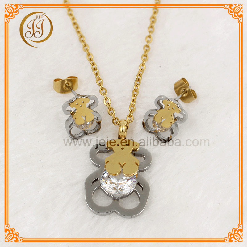 Most Hot Selling Steel And Gold Plated Zircon Cheap Earring And Necklace Sets