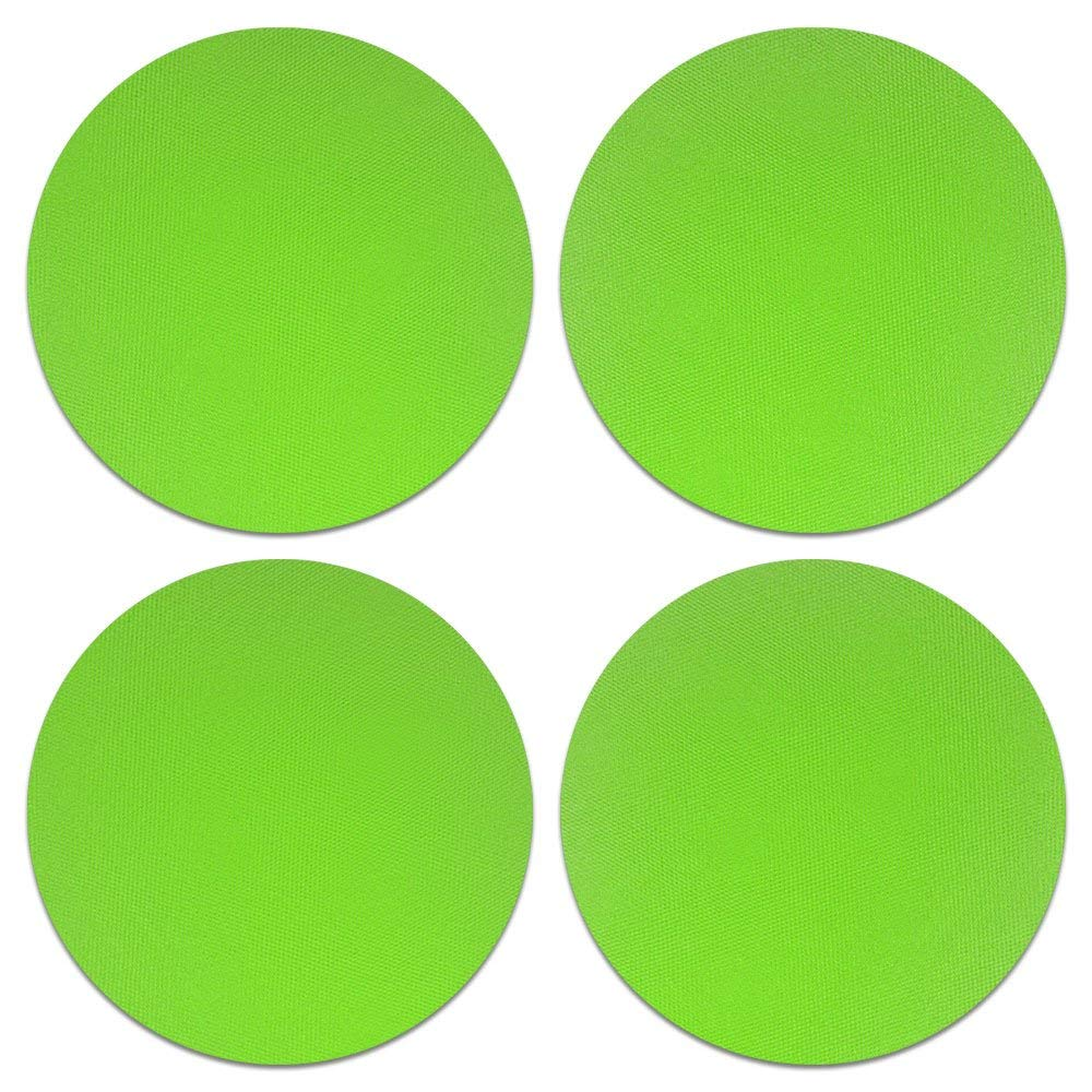 CARIBOU Coasters, Solid Neon Fluorescent Green Design Absorbent ROUND Fabric Felt Neoprene Coasters for Drinks, 4pcs Set