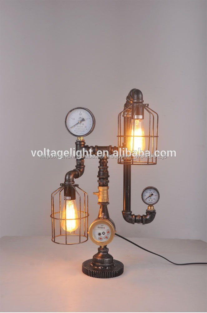 lampe de table d corative de style vintage industriel pipe eau en m tal ampoule d 39 edison. Black Bedroom Furniture Sets. Home Design Ideas