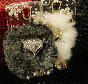 Luxury Diamond case for Samsung Galaxy S3 S4 S5, Bling bling fur cover for iphone , Fox diamond case for Samsung