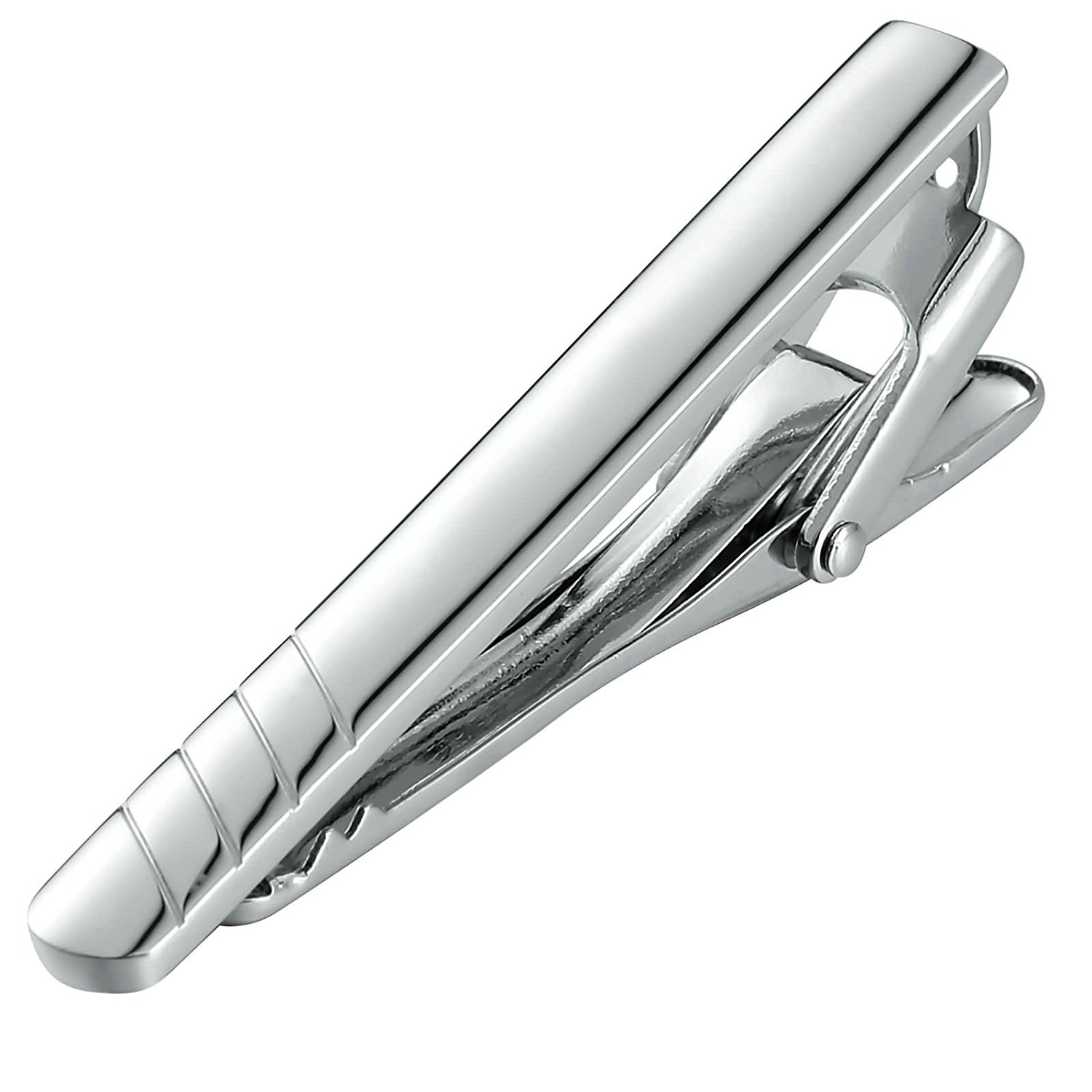 Aooaz Mens Tie Clip Stainless Steel Square Black Silver Tie Pin Promise Shirt Suit Wedding Gift 0.5X5.9CM