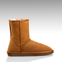HC-708O genuine leather cow suede faux fur lining mould TPR snow boots for men