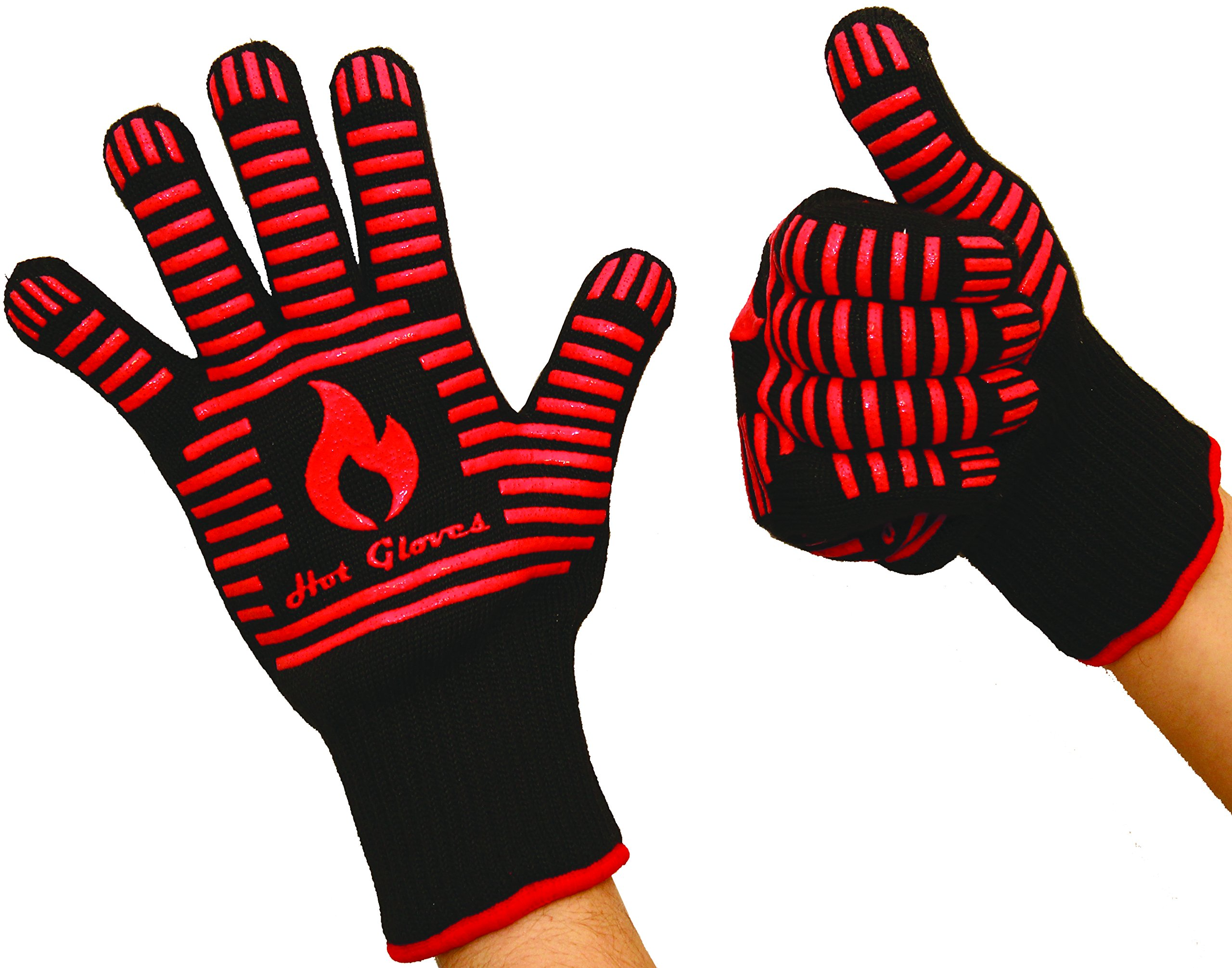 40% OFF! - HOT GLOVES - Extreme Heat Resistant Cooking Gloves - Premium Quality - Oven Gloves - BBQ Gloves (2 Gloves - Black) + Bonus: Premium BBQ Recipes Cookbook
