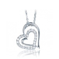 18k white gold famous silver jewlery necklace brand double heart pendant