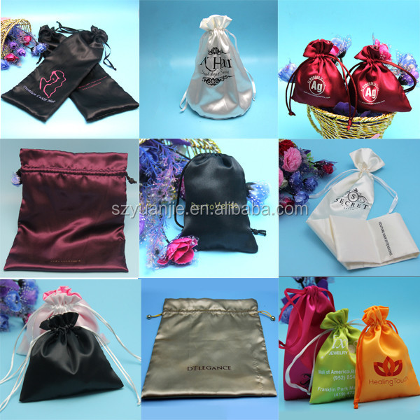 Satin Silk Bag For Wig Hair Extension Packaging In Bags