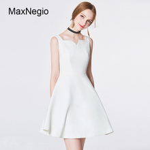 Maxnegio Custom White Sleeveless Fashion A Line Woman Dress With Prom
