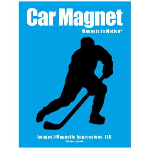 Ice Hockey Player Male Car Magnet Pose 3 Black